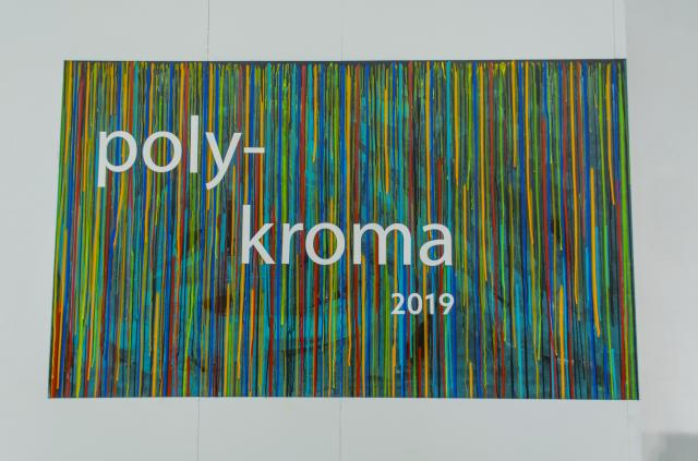 """lnstallation View, Title Wall, Exhibition: """"PolyKroma 2019"""", Apr.27, 2019 to May 19, 2019, Co-curated by Michele Cairella Fillmore & Sooyun Im, W. Keith & Janet Kellogg Art Gallery, Cal Poly Pomona."""