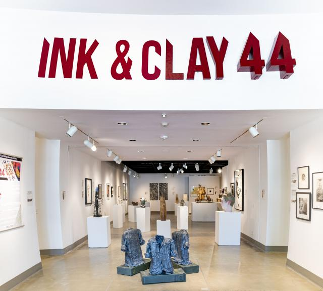 """Installation View, Title Wall Exhibition Entrance, Exhibition:""""Ink & Clay 44"""", Aug.22, 2019 to Nov. 21, 2019"""