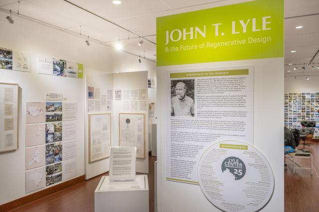 """Installation View, Title Wall Exhibition Entrance, """"John T. Lyle and the Future of Regenerative Design"""" Exhibition, Oct.17, 2019 to Dec.8, 2019"""