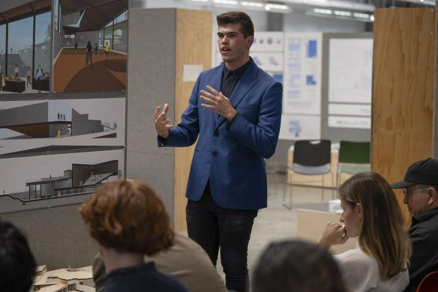 Marc Rudy final project presentation to professionals. (George Proctor)
