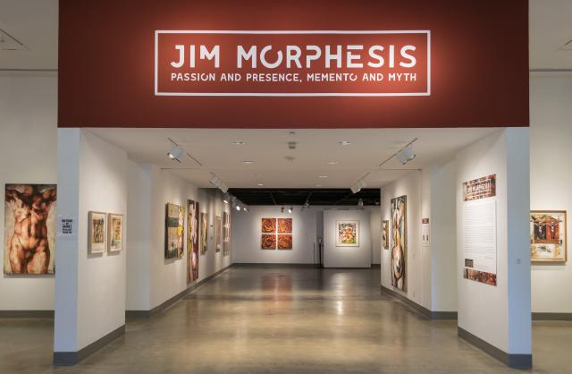 Title Wall entrance view, Exhibition: Jim Morphesis: Passion and Presence, Memento and Myth, Nov 18, 2017 - Feb 1, 2018, Curator: Michele Cairella Fillmore, W. Keith & Janet Kellogg Art Gallery, Cal Poly Pomona. [Title Wall of Jim Morphesis: Passion and Presence, Memento and Myth]