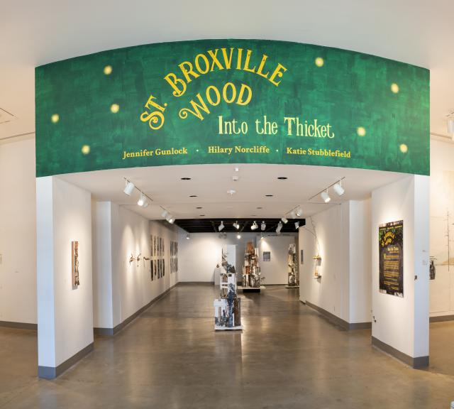 "Installation View, Title Wall, ""St. Broxville Wood: Into the Thicket"" Exhibition, Artists: Jennifer Gunlock, Hilary Norcliffe, and Katie Stubblefield. Jan. 21, 2020 extended through Dec. 13, 2020 (extended indefinitely after Dec. 13, 2020)"