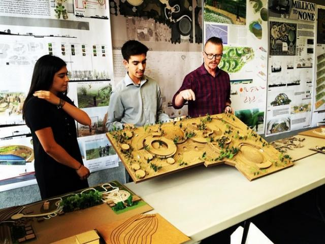Landscape architecture students discuss their studio projects