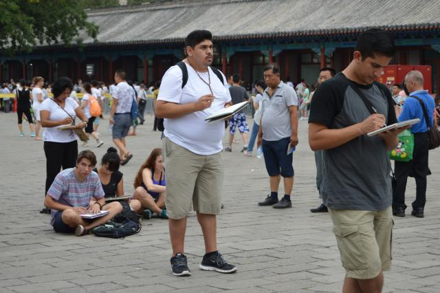 Students conduct a site analysis in Beijing during the ENV China Study Abroad Program.