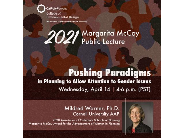 Cornell University's Mildred Warner, Ph.D., is the featured speaker of the 2021 Margarita McCoy Public Lecture Program