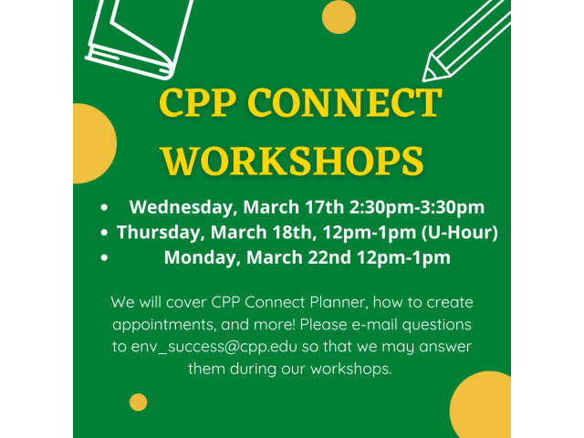 ENV Student Success Advising Center will host a series of workshops familiarizing students with CPP Connect Planner