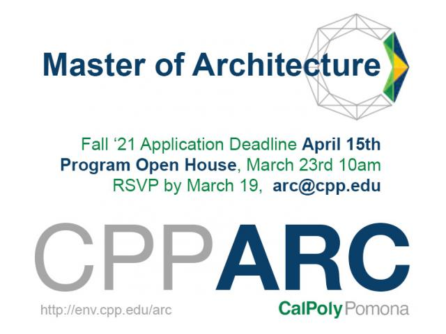 The Department of Architecture will hold a virtual open house for its M.Arch program on March 23, 2021
