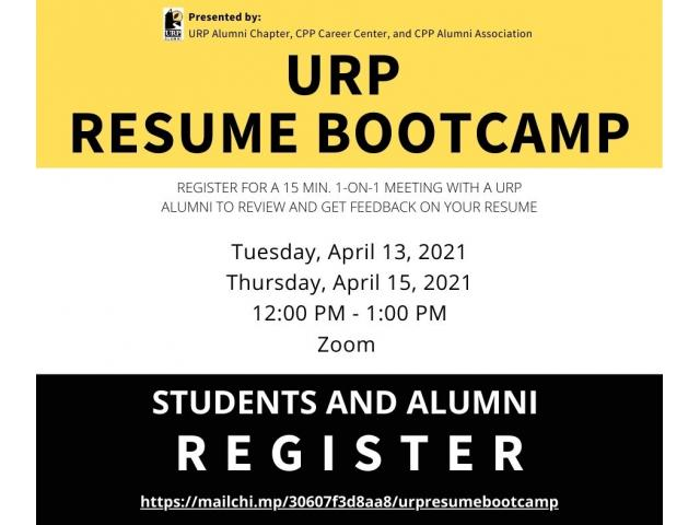 Need help with your resume? Students can get feedback from URP alumni at the URP Resume Bootcamp
