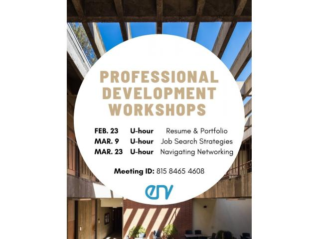 ENV majors are invited to a three-part professional development workshop co-hosted by the ENV Council and Career Center