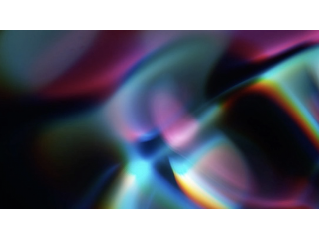 """Sasha Raphael vom Dorp 15.15 Hz Sunlight 01.28.2018 14:19:05.008 36 o24'22""""N 105 o34'31""""W from the Sound Bending Light Series, 2018 Photograph of sunlight encountering sound as observed through the medium of water; archival pigment print mounted on aluminum, ed. 1/3, 42 x 28"""" Courtesy of the artist. Image used with permission ©2018."""