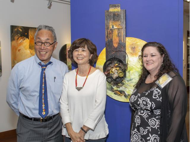 Curator Michele Cairella-Fillmore with featured Artist Ann Phong and Michael K. Woo, Dean of College of Environmental Design