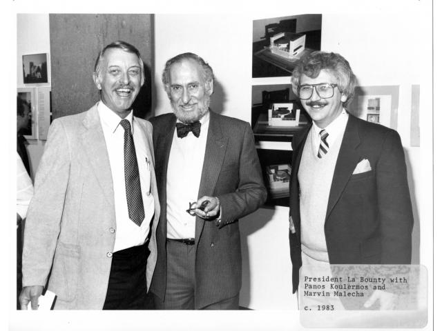 L-R: President Hugh La Bounty, Panos Koulermos and Marvin Malecha (Special Collections - University Library, Cal Poly Pomona)